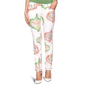 Desigual 32 white paisley slim fit pants pockets